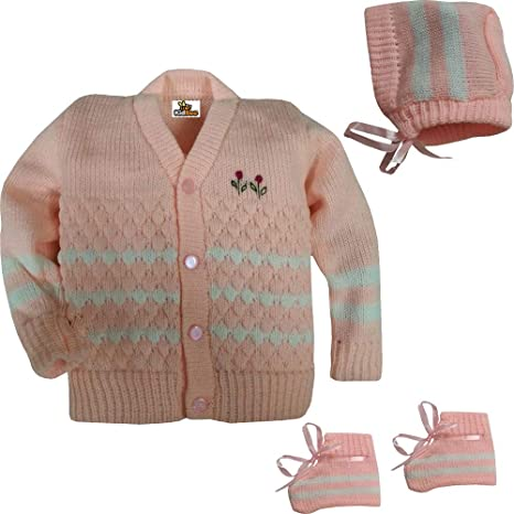 fed975c99aac Kidbee New Born Baby Sweater Cap Booties Woollen Knitted Front Open ...