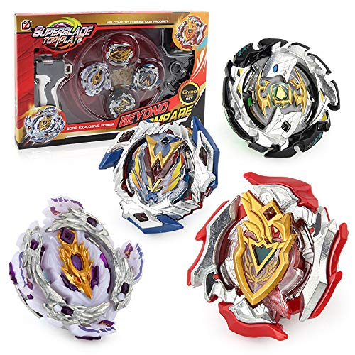 High Performance Center - Bey Burst Battle Blades Battling Top Set Toys Battle Gyro , 4X High Performance Tops Metal Fusion Attack Set with Launcher and Grip Starter Grip , Stadium Arena