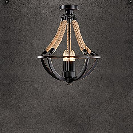 Retro industriales lámpara de techo 3 focos cáñamo cuerda ...