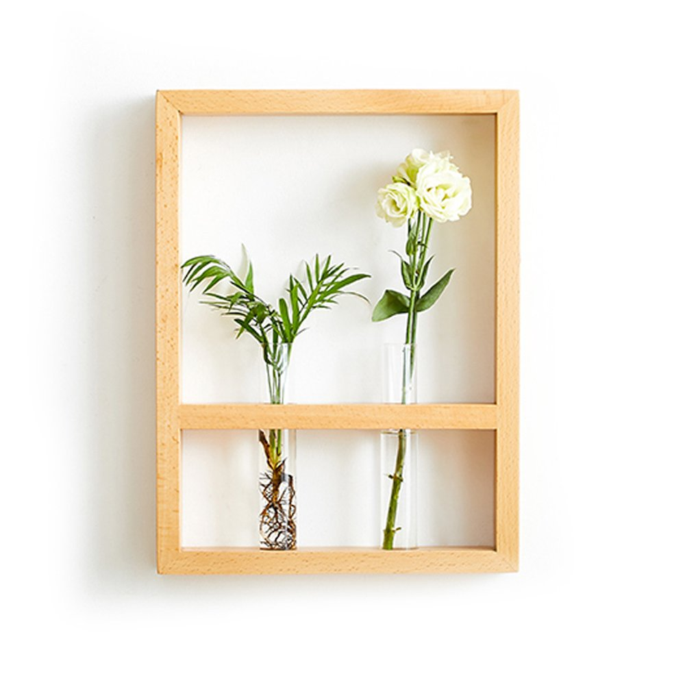 Wall Mount Hanging Flower Vase Plant Holder with Frame, 11'' Lx2 Wx15H