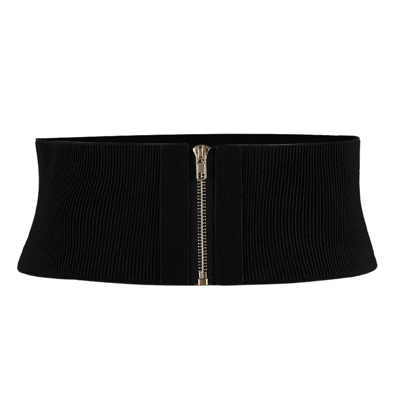 Shengweiao Womens Wide Elastic Waist Belt Cinch Belt Stretch Waistband (Black)