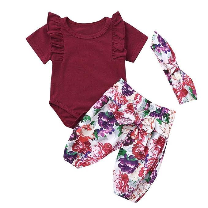 5ee2e39d0 POLP Bebé Monos Recién Nacido Bebé Princesa Bebe Monos Mameluco Conjuntos  para Niña Tops y Pantalones 3-18meses Ropa Verano Pijama Niños Mameluco  3PC  ...