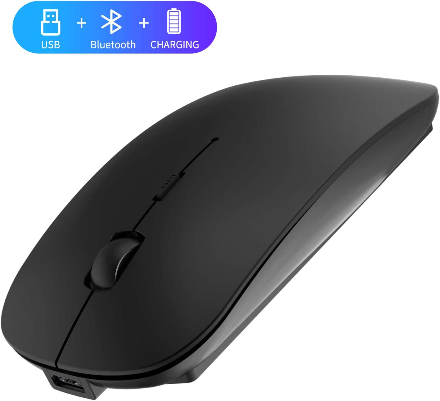 2.4GHz Wireless Bluetooth Mouse, 3 Adjustable DPI, Dual Mode Slim Rechargeable Wireless Mouse Silent USB Mice,Compatible for Laptop Windows Mac Android MAC PC Computer (Black)