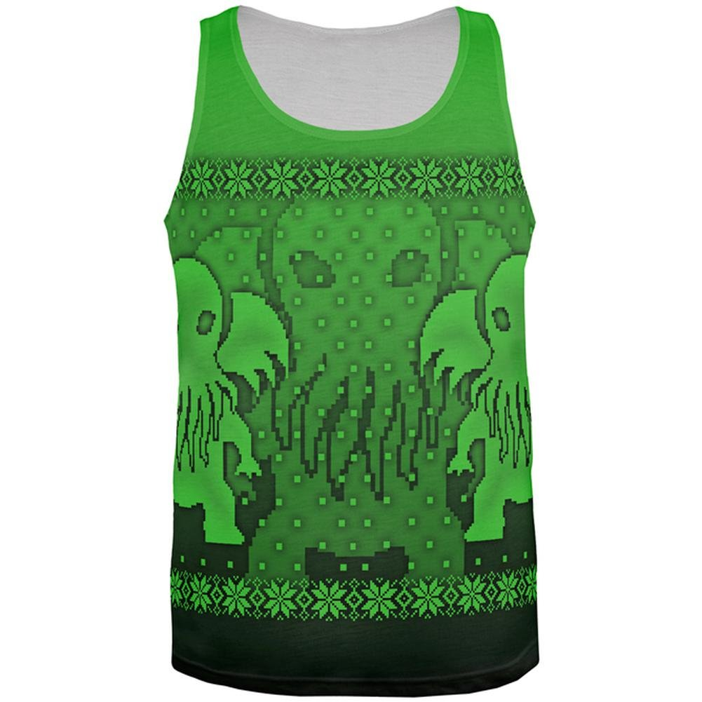 Old Glory Ugly Christmas Sweater Big Cthulhu Greater Gods All Over Mens Tank Top
