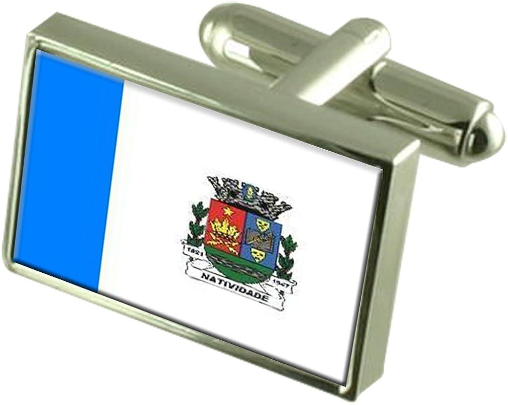 Natividade City Rio de Janeiro State Flag Cufflinks Engraved Box