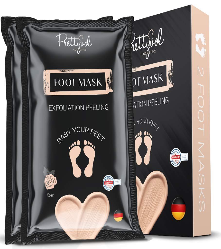 Foot peel mask, 2 Pairs peel, make your feet Soft, exfoliating foot mask, repair rough heels, get silky soft feet, tested in germany (rose)