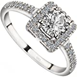 Meixao Engagement Rings Round Brilliant Cut Cubic Zirconia 925 Sterling Silver Rings Wedding