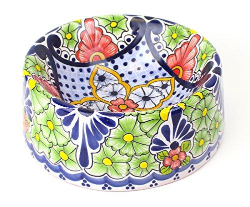 San Miguel Collection Hand-painted Ceramic Pet Bowl | Bella Hacienda (Large - 80oz)