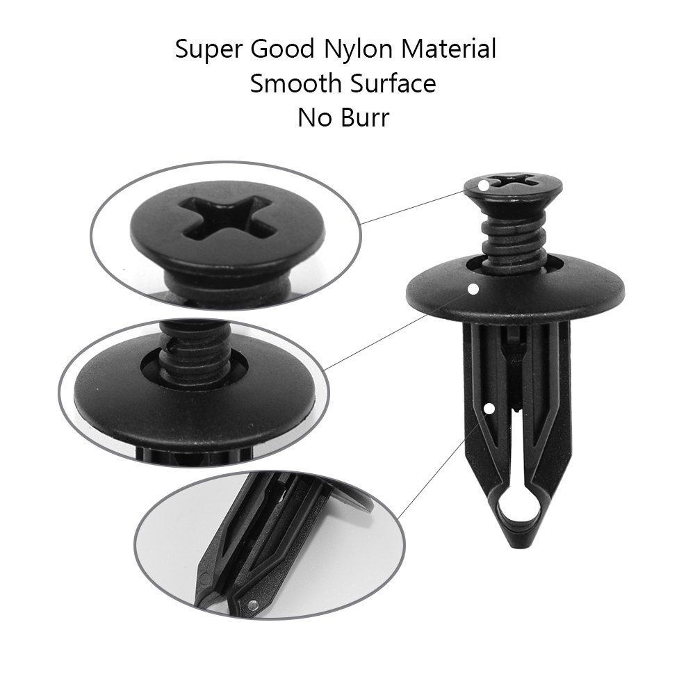 1 Length for GM 15672330 Doitnow ClipsOne 25PCS Push-Type Retainer Black Nylon 27//32 Hd Dia
