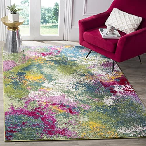Safavieh Water Color Collection WTC697C Green and Fuchsia Area Rug, 8 x 10