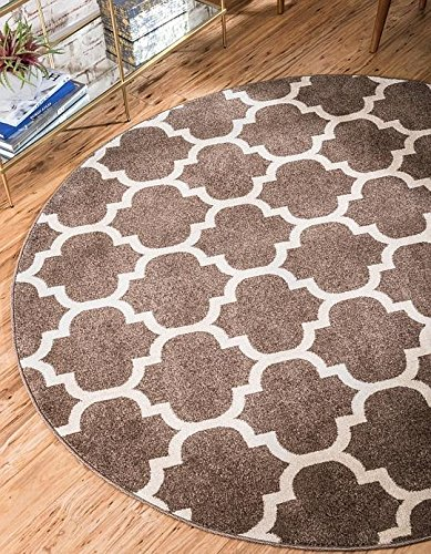 Unique Loom Trellis Collection Light Brown 6 ft Round Area Rug (6