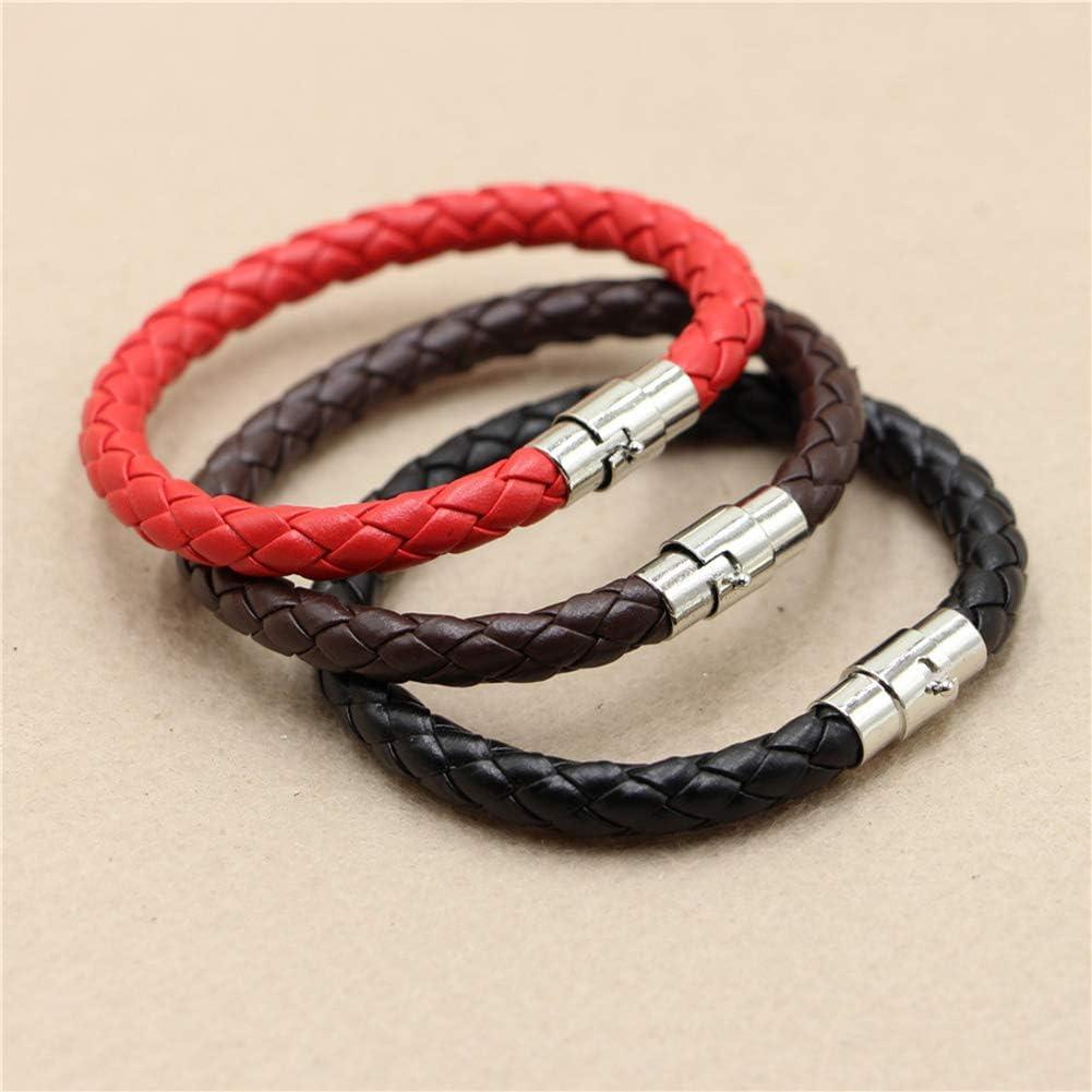 Unisex Faux Leather Braided Wristband Bracelet Magnetic Clasp Bangle Jewelry helegeSONG Bracelets Black