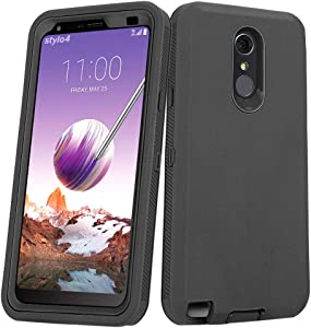 LG Stylo 4 Plus Case, Hybrid High Impact Resistant Rugged Full-Body Shockproof Tri-Layer Heavy Duty Case with Built-in Screen Protector for LG Stylo 4/ LG Stylo 4 Plus (Black)