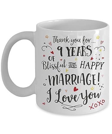Amazon 9th Wedding Anniversary Gift Mug Blissful Happy
