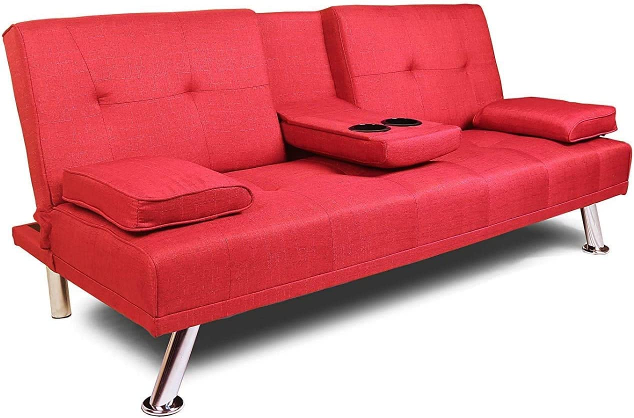 NOUVCOO 2020 Quality Upgrade Futon Convertible Sofa Couch Sleeper with Removable Armrests, Metal Legs, 2 Cupholders for Living Room/Bedroom/Hotel/Small Places, Red Linen