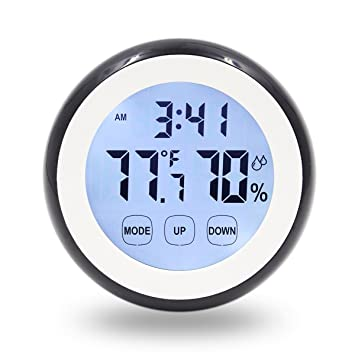 Hippih Digital Magnet Wall Clock With Indoor Thermometer Humidity  Monitor,Touchscreen And Back Light (