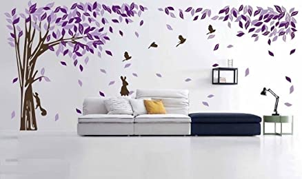 Awesome Asmi Collections Wall Stickers Beautiful Large Purple Tree Birds Squirrel  Rabbit (12 Feet(W Part 20