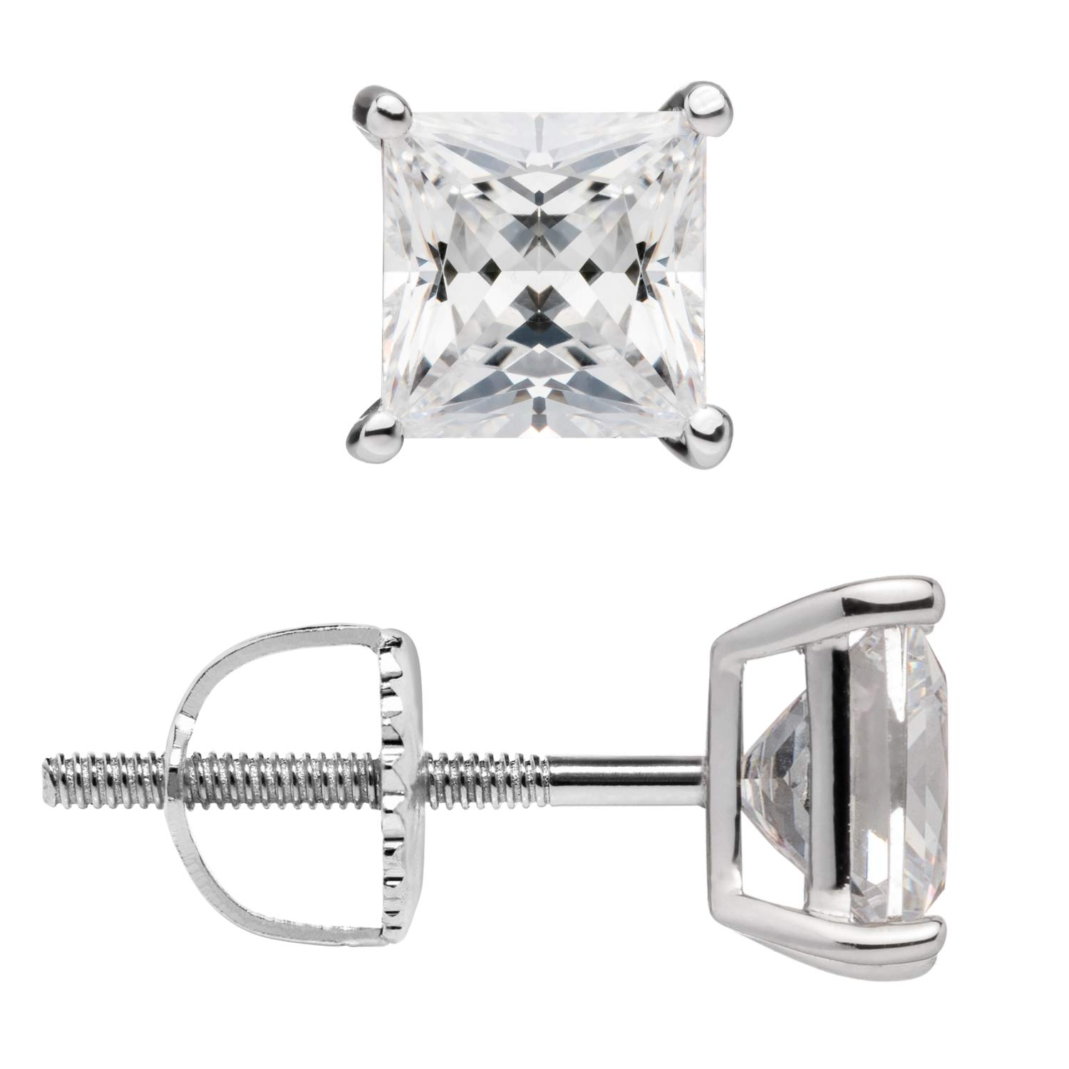 With Gift Box 14K Solid White Gold Earrings Screw Back Posts .58-4.0 CTW Princess Cut Cubic Zirconia Stud
