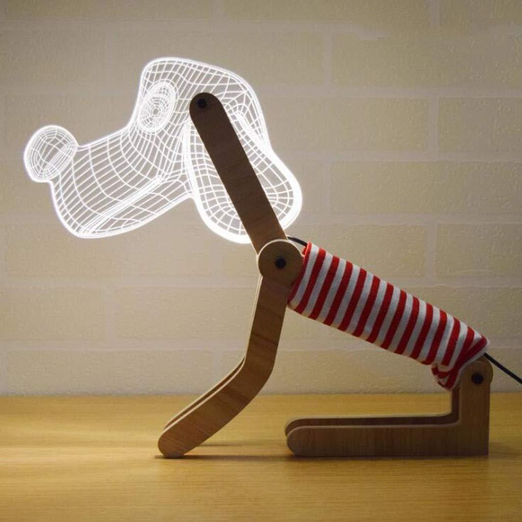 Europäische kreative tischlampe 3D neue seltsame geschenk LED paar usb gas Atmosphäre auge bett hund nachtlicht (Farbe   braun)