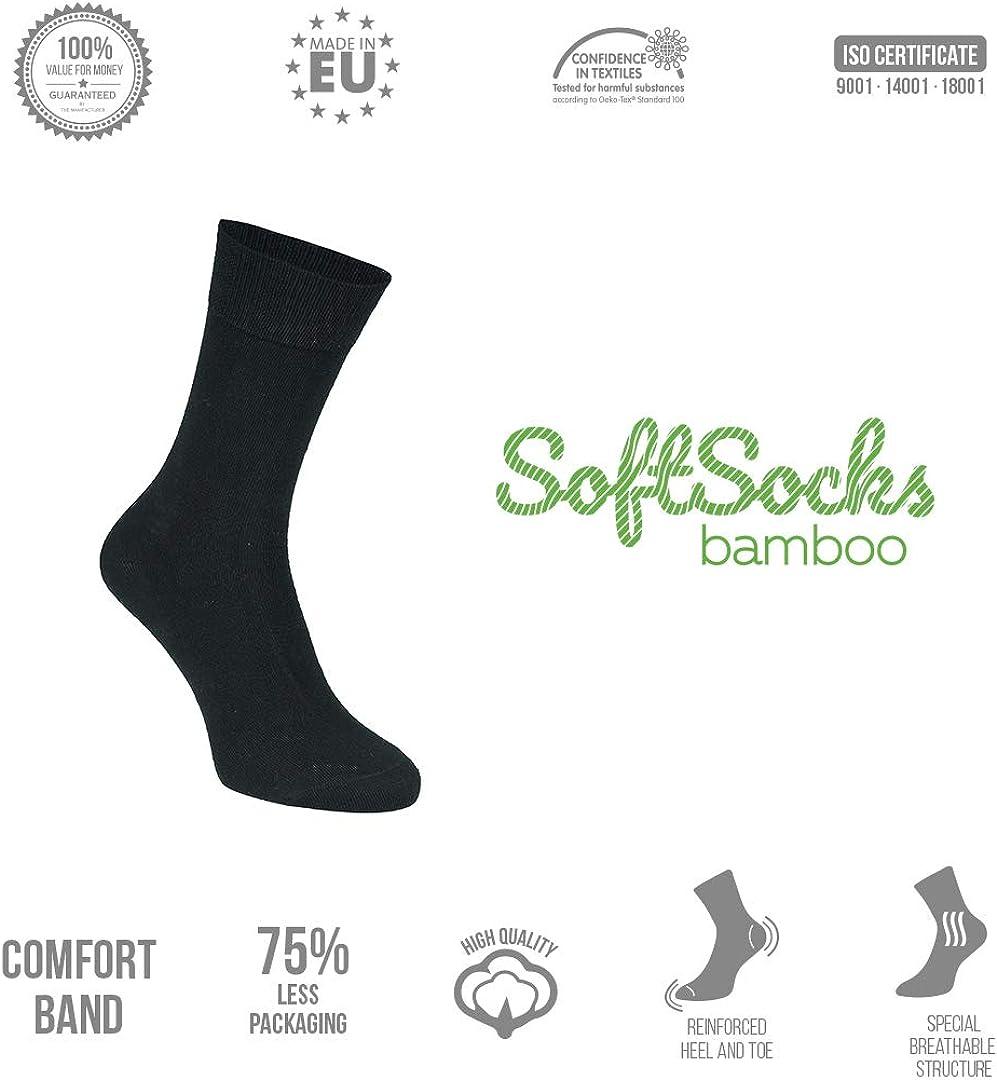 SoftSocks Calzini Di Bamb/ù Nero Morbidi Per Uomo e Donna Sport e Tempo Libero TRASPIRANTE! Ottimo Comfort 5-Pack Ideale Per Lavoro