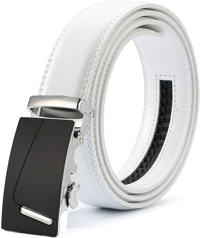 New Mens Fashion Automatic Buckle Leather Luxury Man cinturones hombre Black white Belt Alloy buckle White belt for Men,25,120cm