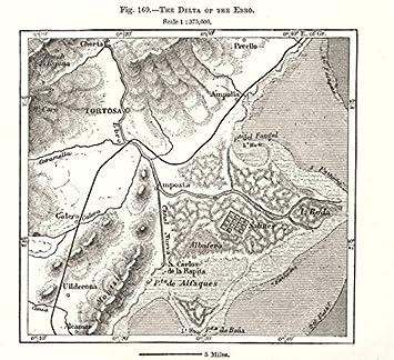 Antiqua Print Gallery El Delta del Ebro. Tortosa España. Mapa de Bosquejo 1885 Antiguo Mapa Vintage - mapas Impresos de España: Amazon.es: Hogar