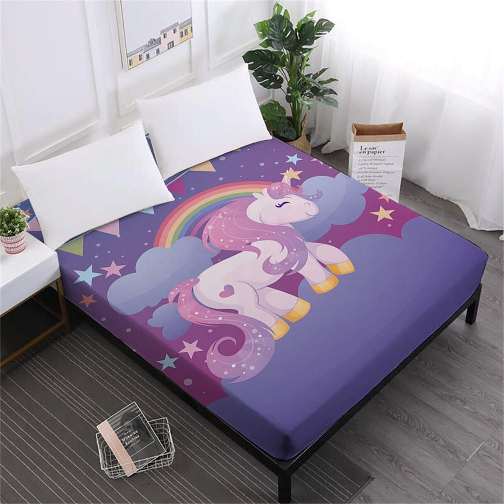 Unicorn Series Bed Sheets Cute Cartoon Print Fitted Sheet Girls Kids Sweet Sheets 100% Polyester Mattress Cover Home Decor DCL-AS67 Full