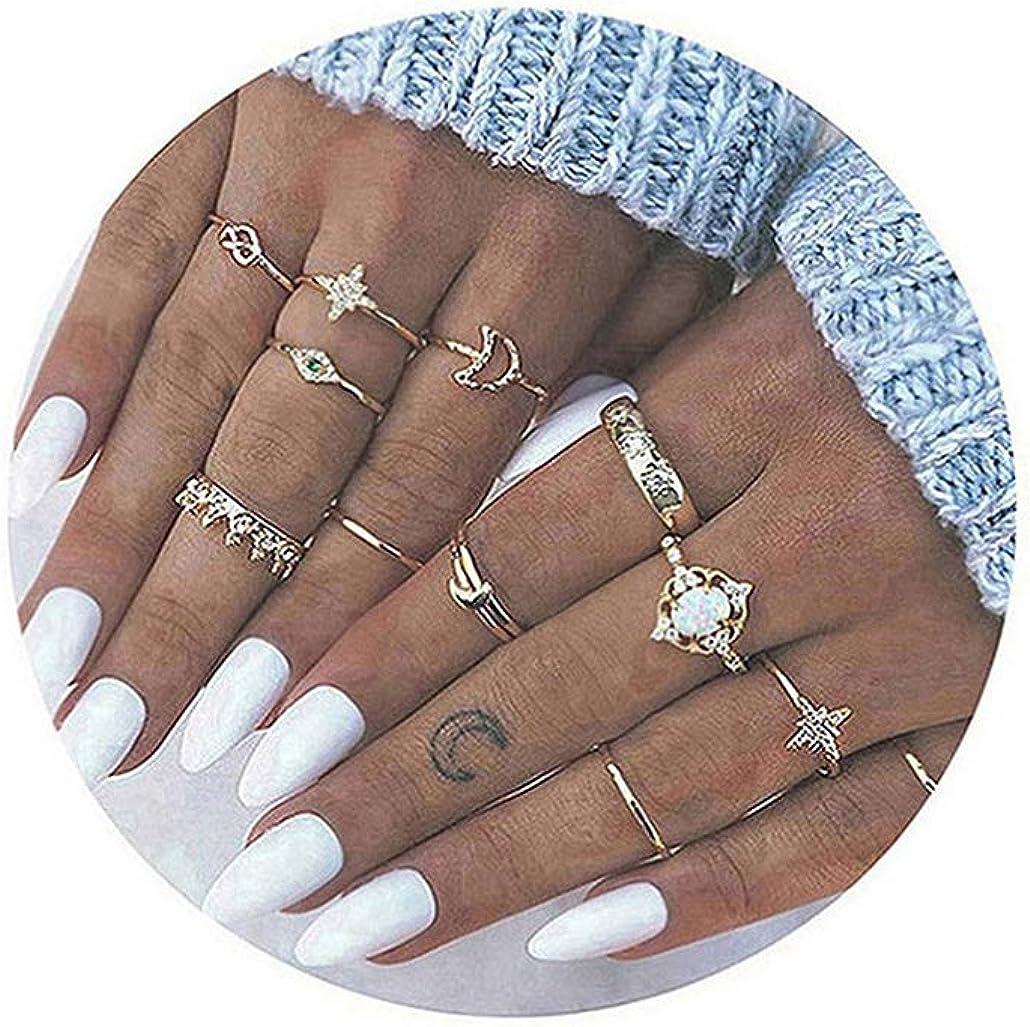 Dsaren 13 Piezas Juego de Anillos de Nudillo Vintage Flores Huecas Talladas Corona Luna Anillos de Dedo Conjunto para Mujeres Chicas