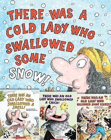 There Was an Old Lady Set of Four Books By Lucille Colandro Includes There Was a Cold Lady Who Swallowed Some Snow!, There Was an Old Lady Who Swallowed a Shell!, There Was an Old Lady Who Swallowed a Chick!, and There Was an Old Lady Who Swallowed Some Leaves! Paperback ()