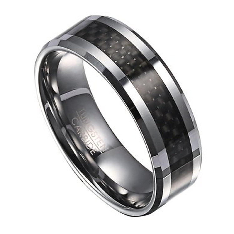 Men's Tungsten Wedding Band with Black Carbon Fiber Inlay 8mm