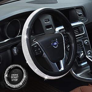 Diamond Steering Wheel Cover, Bling Car Decor Crystal Rhinestone, Bling Car Accessories, Diamond Leather Auto Car Anti-Slip Steering Wheel Cover Universal 15 Inch