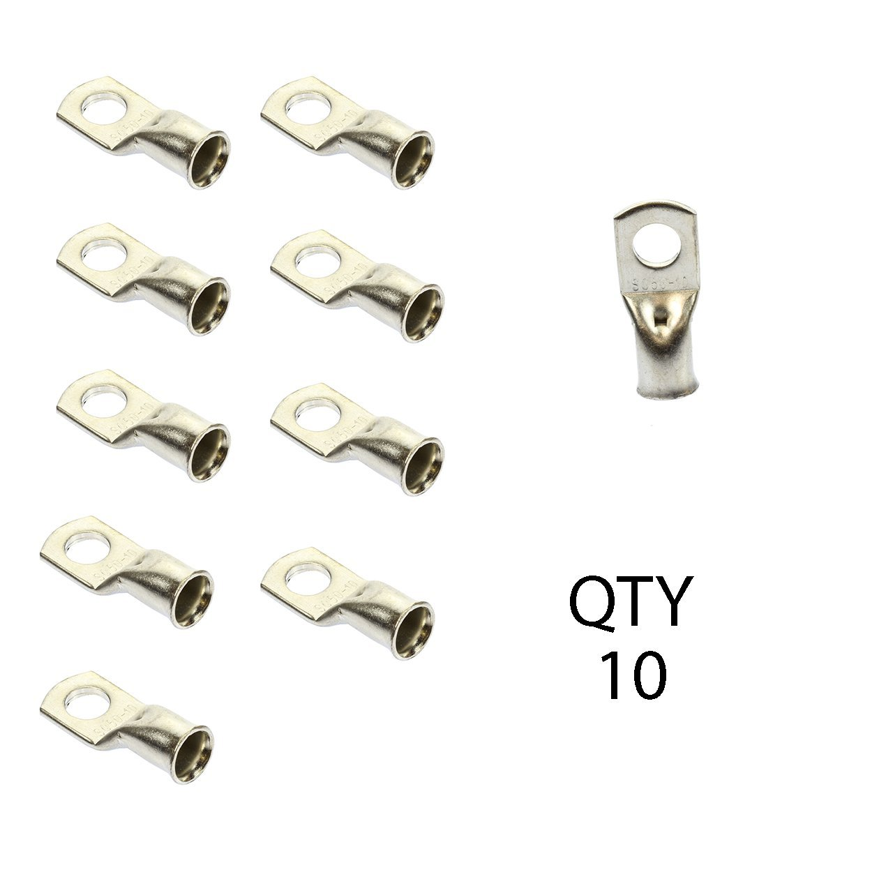 1/0 AWG gauge 3/8'' non-insulated Nickel pl copper Ring Terminal Lug QTY 10 Pack