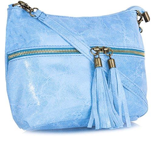 with assorted tassel soft Blue bag crossbody MIA leather casual Mini purse LIATALIA Baby 0xCwq8zfn4