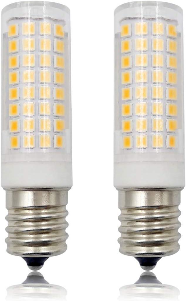 TIANZHILAN E17 Ceramic LED Bulb,600 Lumen, 7 Watt,110V-130V, 60W Halogen Bulb Equivalent, E17 Base Dimmable for Microwave Oven,Warm White 3000K,Pack of 2