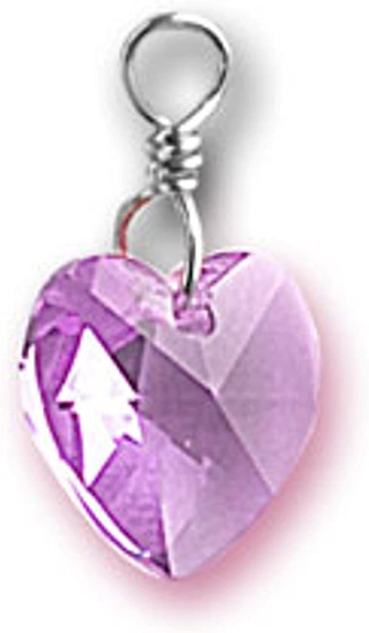 Sterling Silver Girls .8mm Round Purple June Crystal Birth Month Baby Footprint Pendant Necklace