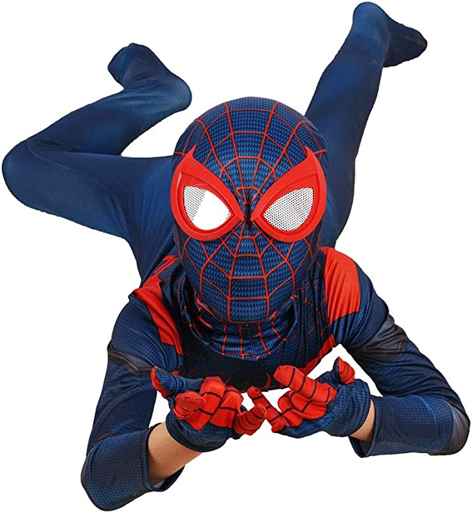Spider-Man Cosplay Kostüm Miles Morales Kinder Outifit Herren Anzug Jumpsuit Set