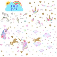 4Sheets Unicorn Wall Decor, Large Size Removable Unicorn Wall Decals Stickers Decor for Girls Bedroom, Wall Decals Unicorn for Nursery Birthday Party Favor Home Decor
