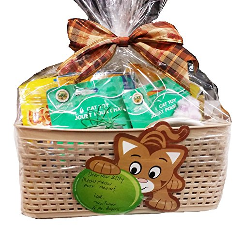Lulu's Baskets PET MASCOT DOG/CAT Gift Basket Beautiful basket with food + Gifts (CAT GIFT BASKET)