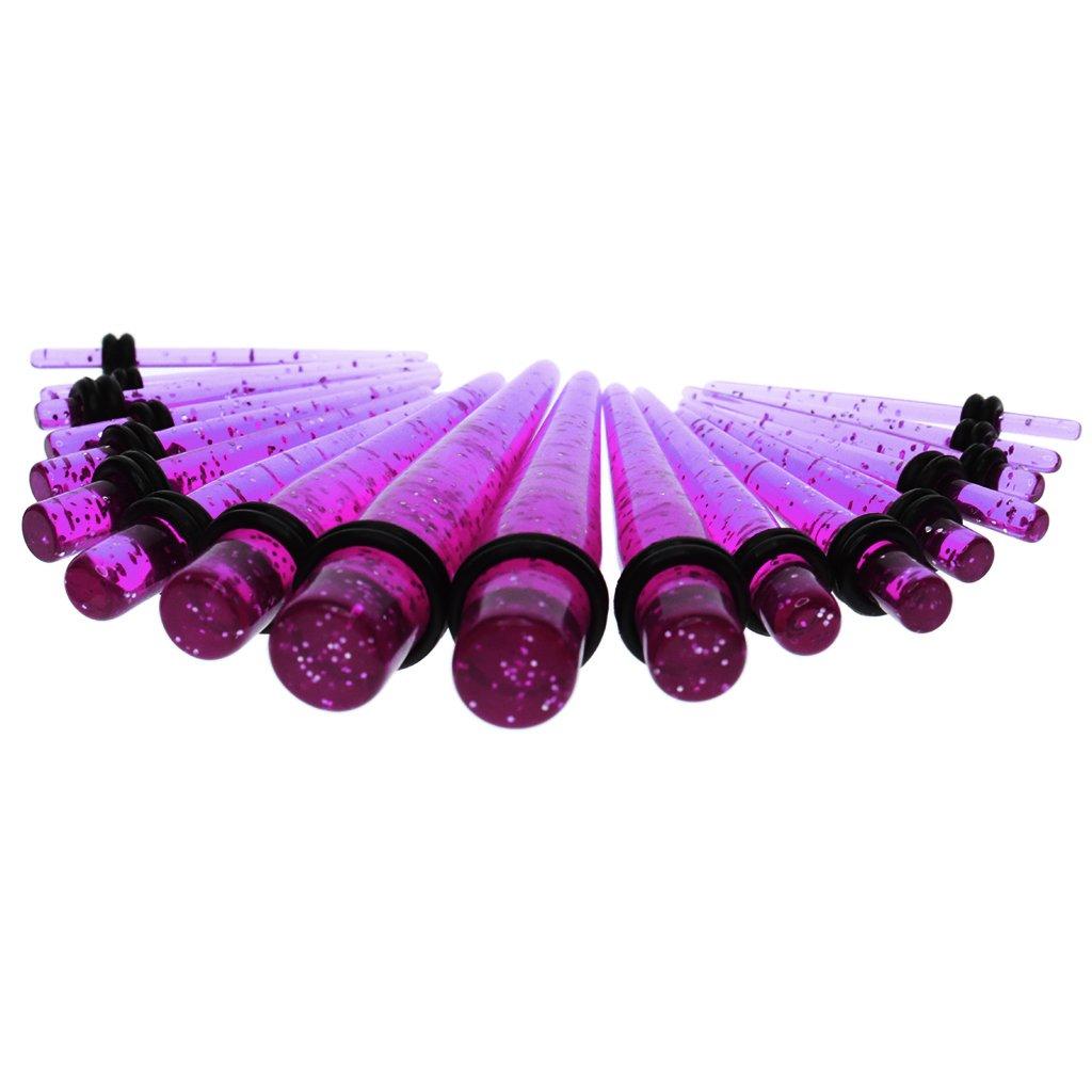 Sharplace 50 Piezas Gauge Tapón Túnel 14g-00g para Oídos Orejas Perforación Expansión - Púrpura: Amazon.es: Juguetes y juegos
