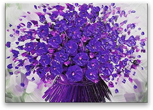 Oil Painting Modern Art on Canvas Contemporary Purple Flower bouquet ( (Well Done Flower Bouquet)