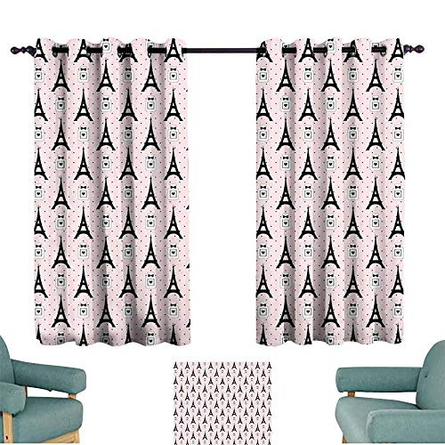 (Mannwarehouse Eiffel Classical Curtain Cartoon Eiffel Towers with Perfume Bottles on Polka Dotted Backdrop Romantic Suitable for Bedroom Living Room Study, etc.63 Wx45 L Rose Black White)