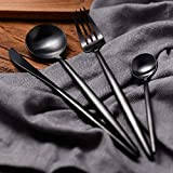 Elome Flatware Set, Stainless Steel Cutlery set, Vintage Design Cutlery for Home Kitchen Restaurant Hotel Black in Gift Box