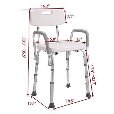 Amazon.com: jaxpety silla de ducha con respaldo – Bañera ...