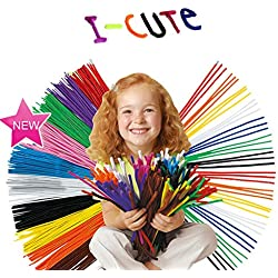 VANKINE 200 Pcs Pipe Cleaners Chenille Stem 6 mm x 12 Inch, Assorted Colors