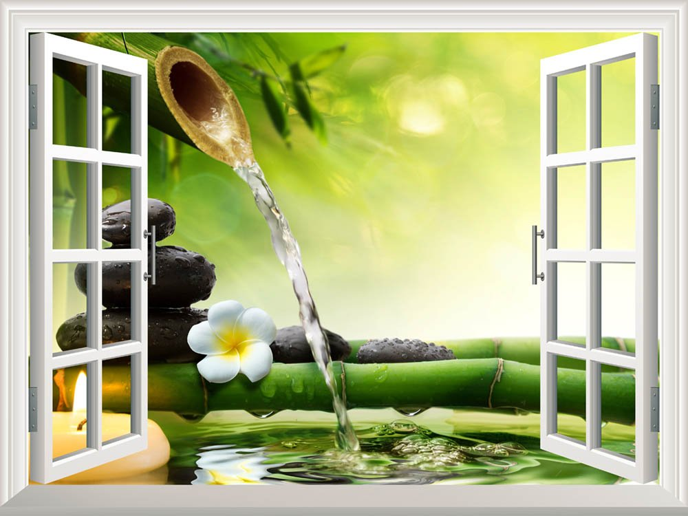 Removable Wall Sticker Wall Mural Spa Stones in Garden with Flow ...