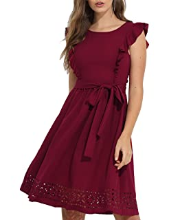 18a0c90a58a Romwe Women s Casual Ruffle Trim Sleeve A Line Cocktail Party Swing Dress