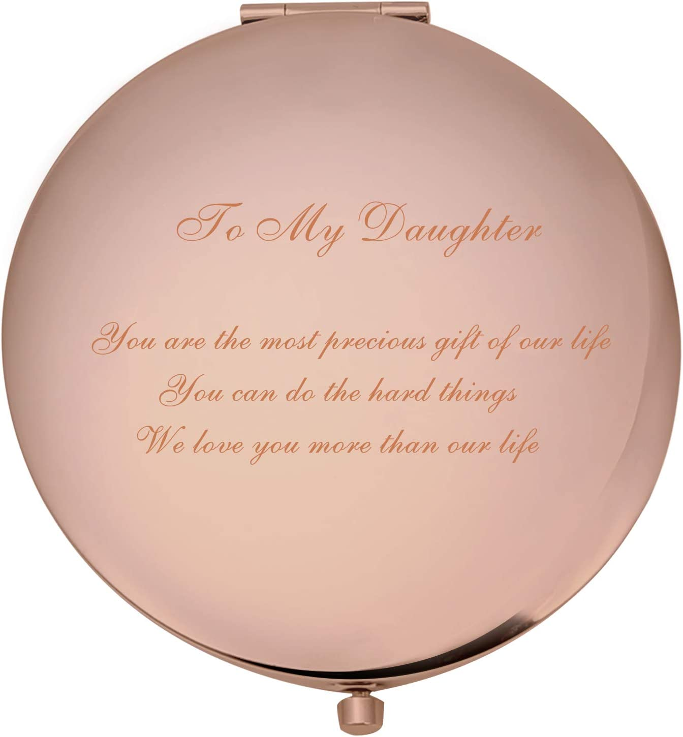 Compact Makeup Mirror to My Daughter Personalized Daughter Gifts from Mom and Dad for Birthday or Some Festivals, Rose Gold