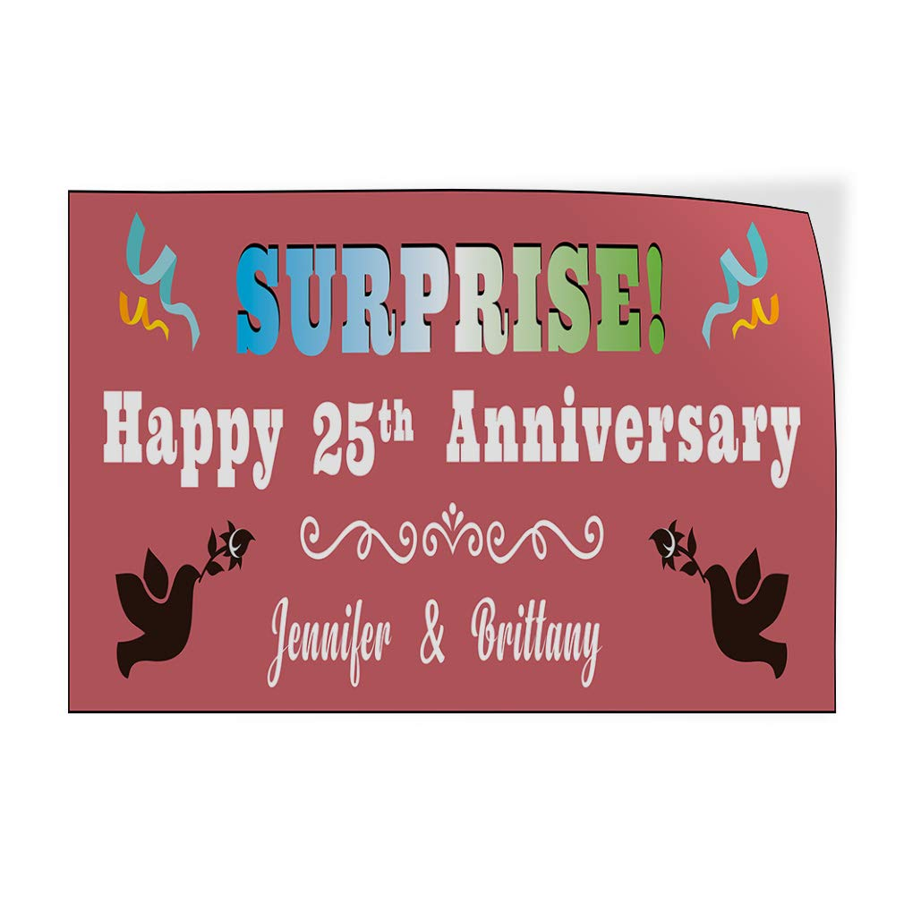 Happy Anniversary Wife Names B Lifestyle Surprise Anniversary Outdoor Luggage /& Bumper Stickers for Cars Red 27X18Inches Set of 10 Custom Door Decals Vinyl Stickers Multiple Sizes Surprise