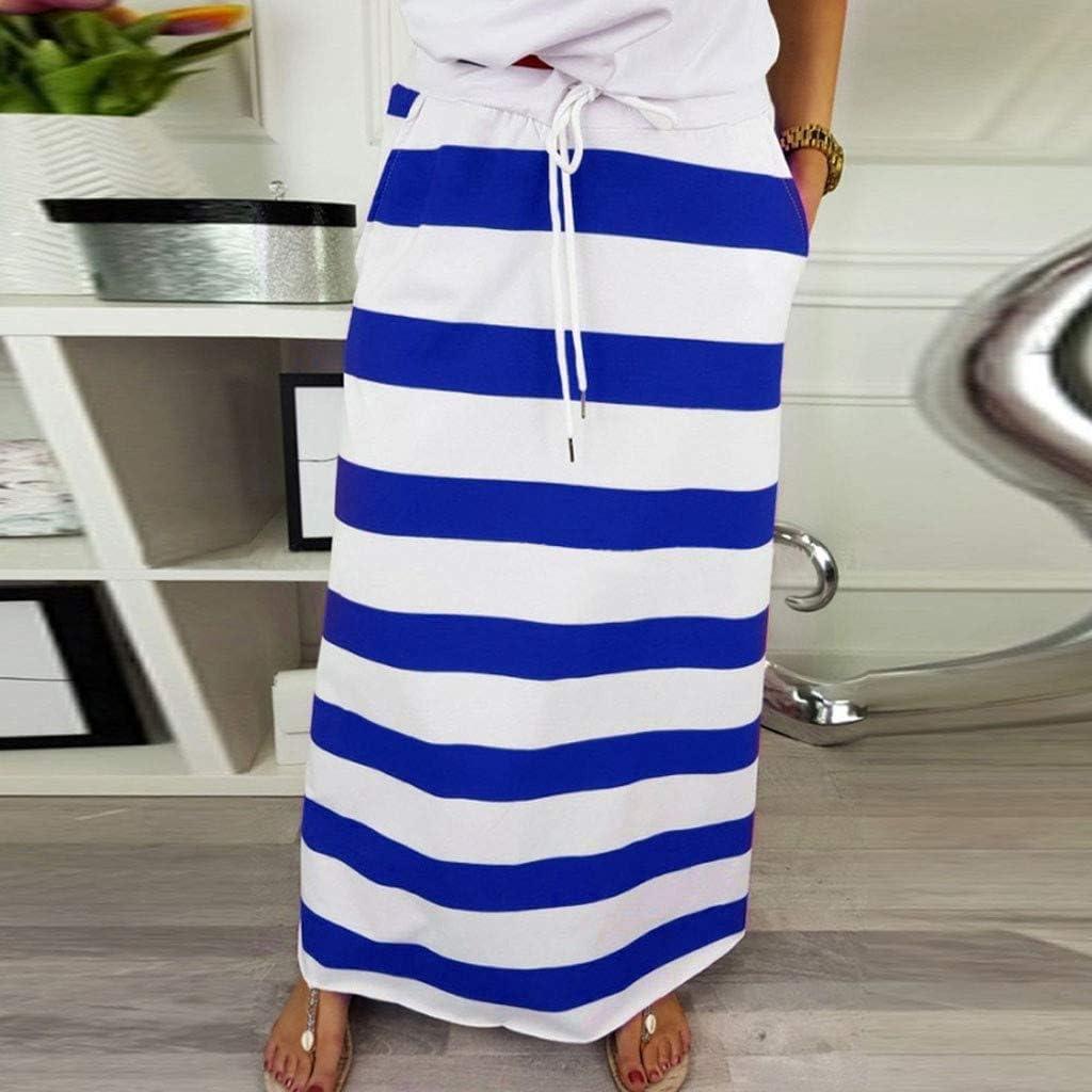 BBsmile Faldas Mujer Verano 2019 - Raya Cintura Alta Largo Skirt ...