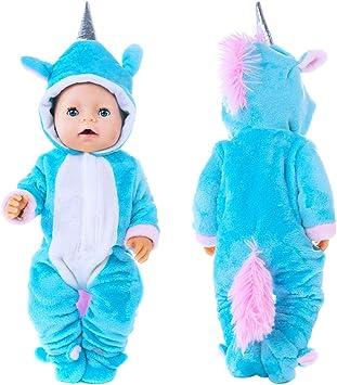 18 Pouces Nuisettes Adore store Unicorn Jumpsuit Ensembles comprennent Sky v/êtements Bleu et Rose Doll 2 Paires Chaussures pour 43 cm New Born Baby Dolls